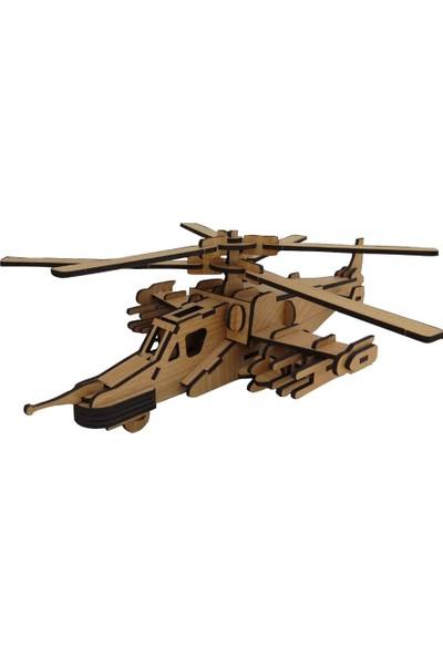 Ahşap 3 Boyutlu Kara Köpekalığı Helikopter Yapboz