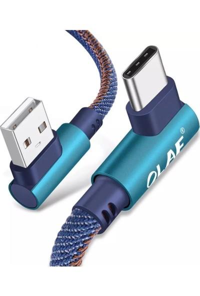 Olaf 2M USB-C Type-C 90° Halat Qc 3.0 Hızlı Şarj Kablosu Mavi