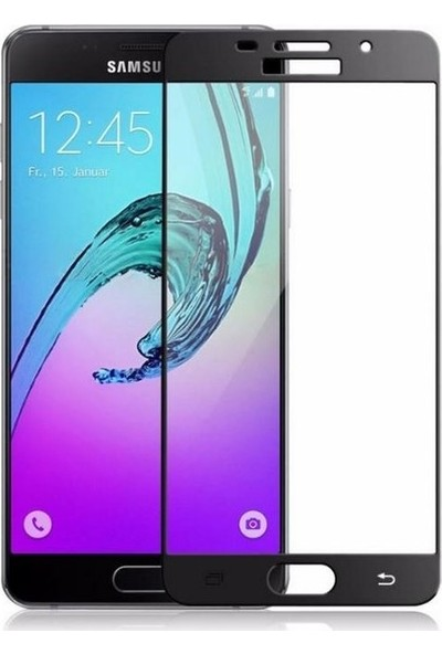 TelefonBorsası Samsung Galaxy A5 2016 Full Kapatan Cam Ekran Koruyucu Siyah