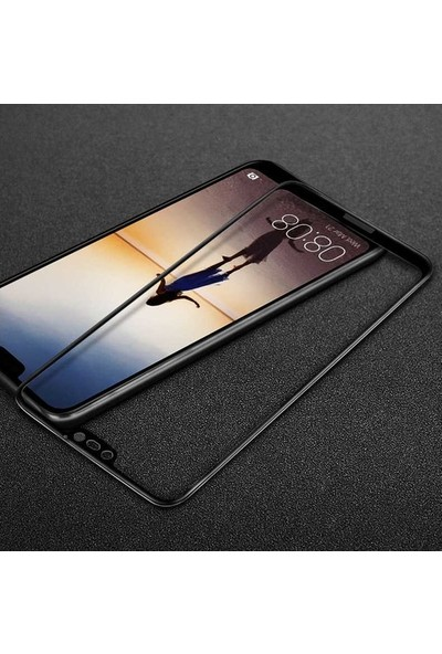 TelefonBorsası Huawei Mate 20 Lite 5D Kavisli Temperli Cam Ekran Koruyucu Film - Siyah