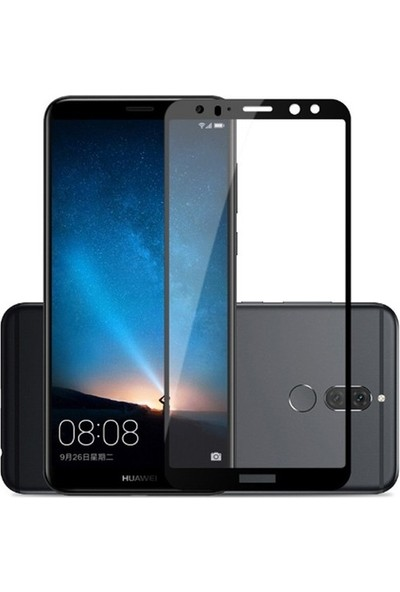 TelefonBorsası Huawei Mate 10 Lite 5D Kavisli Temperli Cam Ekran Koruyucu - Siyah