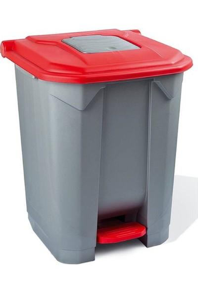 Planet Konteyner Bahçe Çöp Kovası 50 Lt.Tekerlekli Kırmızı Kapak
