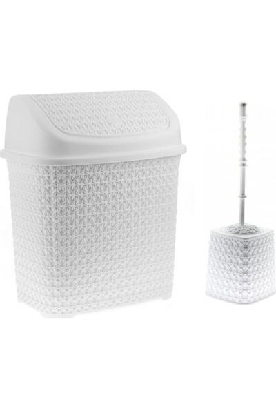Redro Home 2'Li Set 10 Lt Çöp Kovası Ve Klozet Fırçası Bir Arada Beyaz Renk