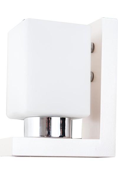 Ünal Aydınlatma Tanem-2 Boyalı Ahşap Krom Kaplamalı Beyaz Camlı Duvara Monte Aplik
