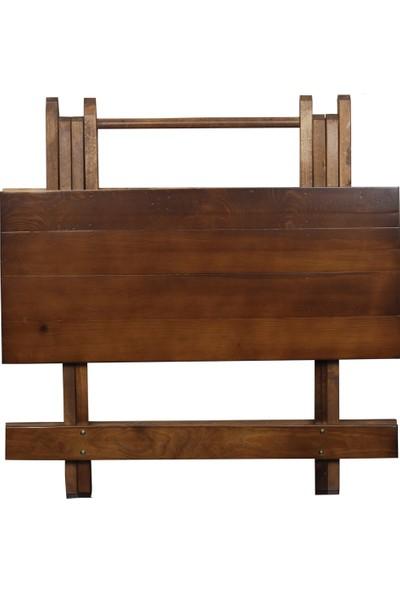 2mm Ahşap Katlanır Piknik Masası Ceviz Rengi 64 x 73 x 63 cm