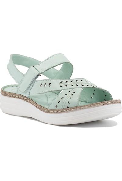 Eşle 9Y-9408527 Kadın Deri Sandalet Yeşil Açık