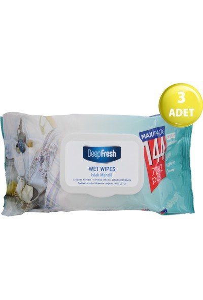 Deep Fresh Maxipack Islak Mendil Beyaz Sabun 3'lü Paket 432 Yaprak (144*3)