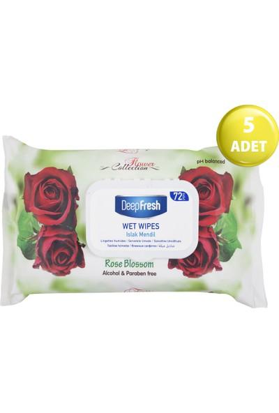 Deep Fresh Flower Collection Islak Mendil Gül 5'li Paket 360 Yaprak (72*5)