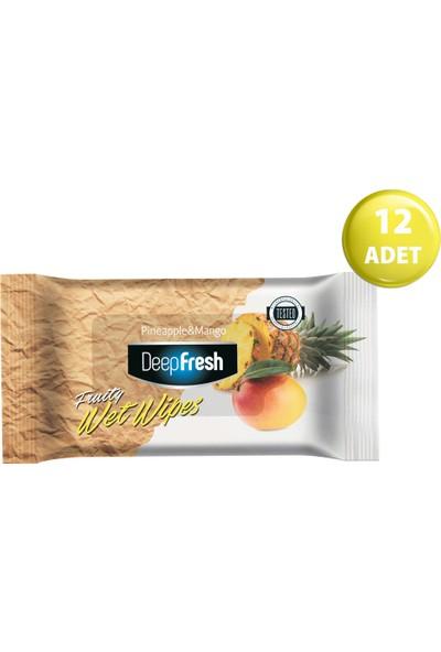 Deep Fresh Meyveli Islak Cep Mendil Ananas&Mango 12'li Paket 180 Yaprak (15*12)