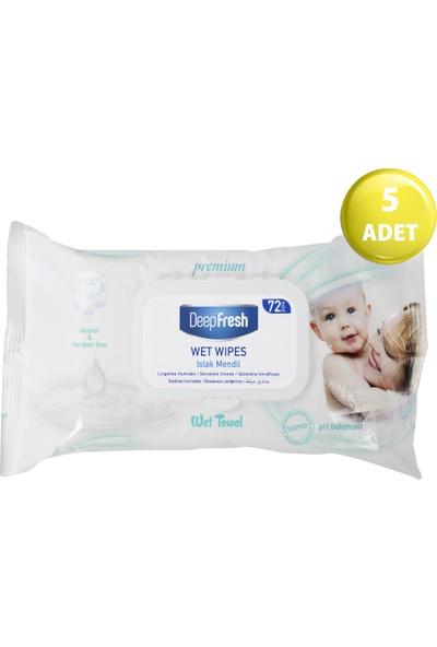 Deep Fresh Cream Lotion Bebek Islak Mendili Yeşil 5'li Paket 360 Yaprak (72*5)