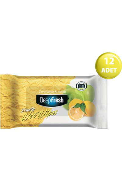 Deep Fresh Meyveli Islak Cep Mendil Yeşil Elma&Limon 12'li Paket 180 Yaprak (15*12)