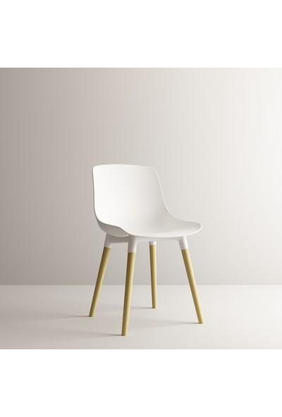 Sandalye Fabrikası Shell Eames Sandalye Düz Beyaz