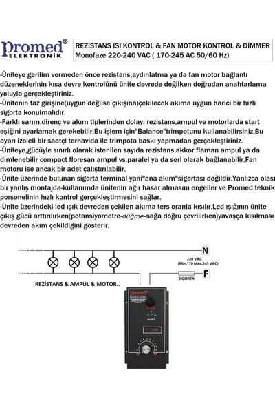 Promed Pano Tipi 8000 Watt Dimmer & Rezistans Fan Motor Devir Kontrol