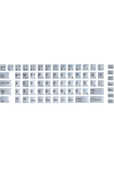 Notebookuzman Arapça Türkçe Klavye Sticker Gri Renk Notebook Ve Pc Uyumlu