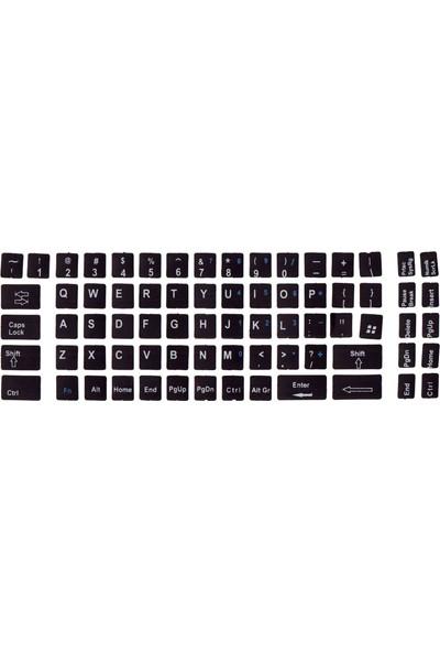 Notebookuzman İngilizce Klavye Sticker Siyah Renk Notebook Ve Pc Uyumlu