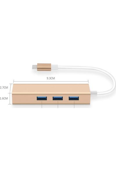 Onten 2 İn 1 Type C 3.1 Giriş 3 Port Usb 3.0 Çoklayıcı Macbook Uyumlu Metal Hub Ve 100 Mbps Rj45 Lan Çevirici Dönüştürücü Adaptör Gümüş