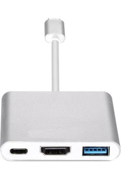 Onten 3 İn 1 Type C To Hdmı Usb 3.0 Type C 3.1 Yüksek Hızlı 10 Gpbs Hub Macbook Uyumlu 4K Ultra Hd Tv Projeksiyon Görüntü Yansıtıcı Dönüştürücü