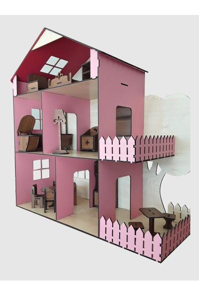 Ahşap Toys Ahşap Oyuncak Bebek Evi Pembe