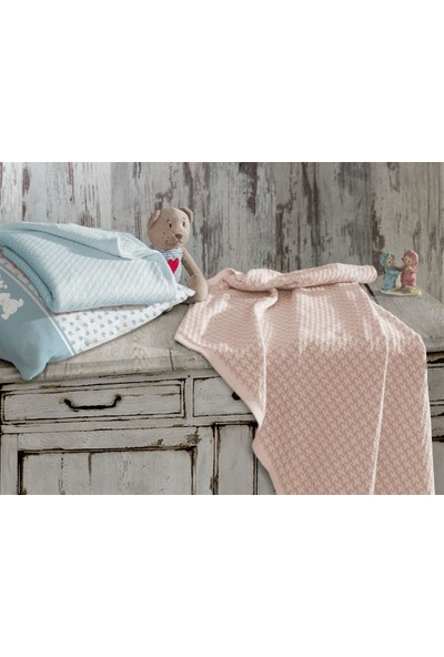 Ecocotton Organik Pamuk Bebek Örgü Battaniye Baby Dream Pudra