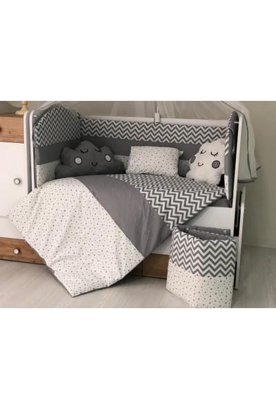 Mini Baby Desenli Gri Bebek Uyku Seti 11 Parça