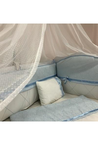 Mini Baby Queen Mavi Beyaz Kurdelalı Bebek Uyku Seti 10 Parça Cibinlik