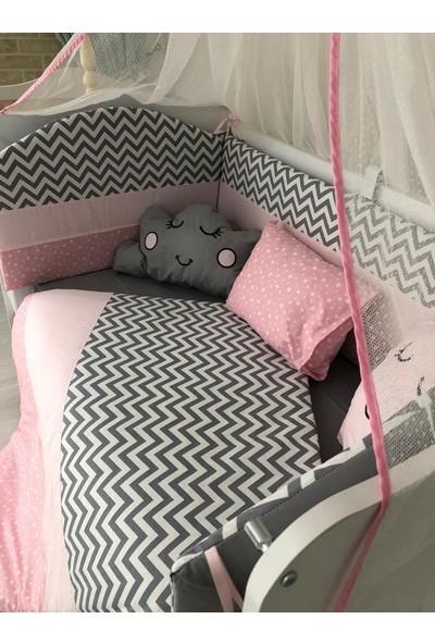 Mini Baby Yıldız ve Zigzag Desenli Pembe Bebek Uyku Seti 11 Parça