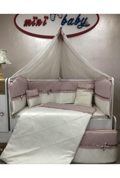 Mini Baby Queen Pudra Beyaz Desenli Bebek Uyku Seti 10 Parça Cibinlik