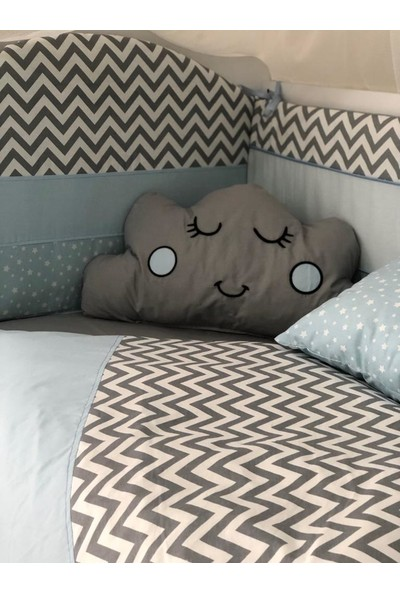 Mini Baby Figürlü Mavi Gri Bebek Uyku Seti 11 Parça