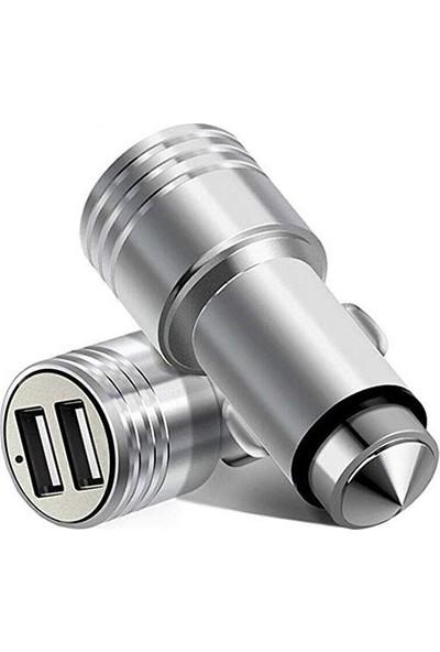 Araç Çakmaklık Telefon Şarjı 2Port Usb Metal 5V 3.1A Şarj Cihazı
