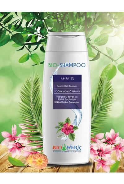 Biowera Bio-Shampoo Keratin Özlü Şampuan-Yıpranmış, Boyalı Ve Röflelı Saçlar İçın Bıtkısel Bakım Şampuanı - 400 ml