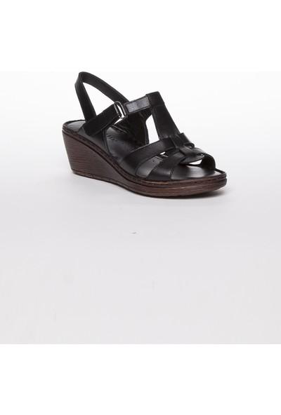 Tarçın Hakiki Deri Siyah Günlük Kadın Dolgu Sandalet Ayakkabı Trc67-0241