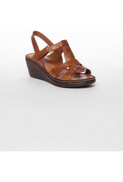 Tarçın Hakiki Deri Taba Günlük Kadın Dolgu Sandalet Ayakkabı Trc67-0241