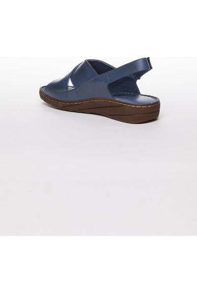 Tarçın Hakiki Deri Kot Mavi Günlük Kadın Sandalet Ayakkabı Trc67-0247