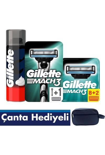 Gillette Mach 3 10'lu Bıçak + Makine + 250 ml Köpük + Gillette Çanta