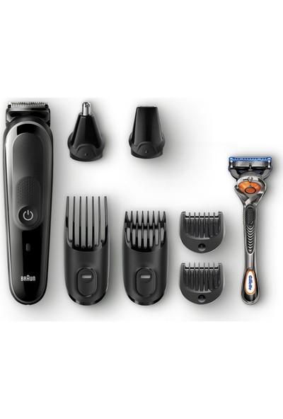 Braun MGK 5060 Erkek Bakım Kiti AutoSense Teknoloji Siyah&Gri Kablosuz Islak&Kuru 8in1 Şekillendirici + Gillette Hediye