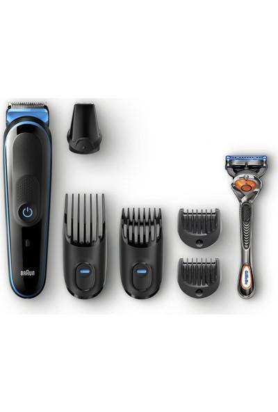 Braun MGK 5045 Erkek Bakım Kiti AutoSense Teknoloji Siyah&Mavi Kablosuz Islak&Kuru 8in1 Şekillendirici + Gillette Hediye