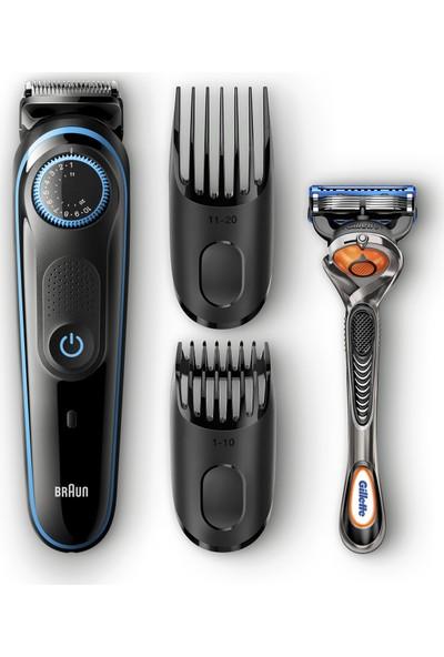 Braun BT 5040 Saç&Sakal Şekillendirici AutoSense Teknoloji Siyah&Mavi Kablosuz Islak&Kuru + Gillette Hediye