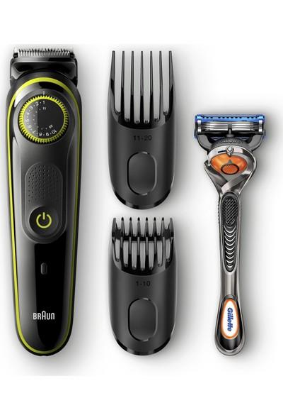 Braun BT 3041 Saç&Sakal Şekillendirici Siyah&Yeşil Kablosuz Islak&Kuru + Gillette Hediye