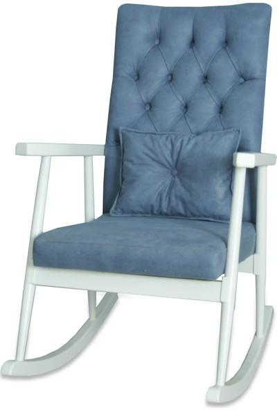 Asedia Teksas Kapitoneli Mavi-Beyaz Sallanan Sandalye