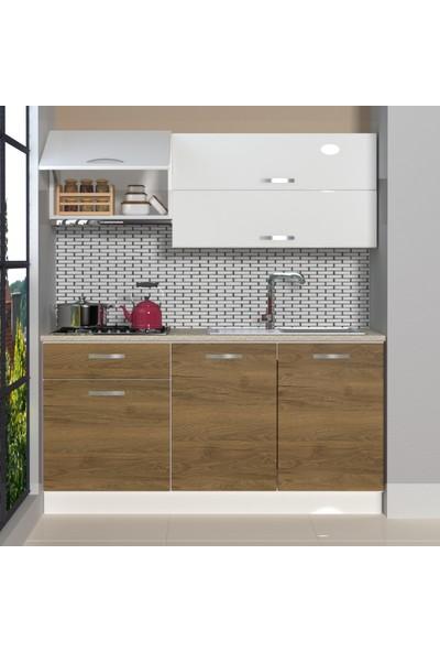 Decoraktiv Hazır Mutfak Dolabı Style 160 cm Pera & Parlak Beyaz -Tezgah Dahil