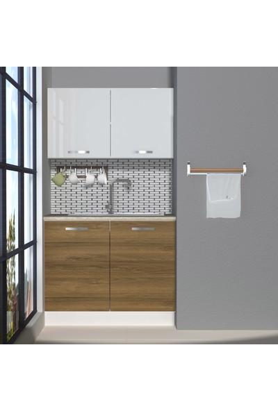Decoraktiv Hazır Mutfak Dolabı Mini 100 cm Pera & Parlak Beyaz -Tezgah Dahil