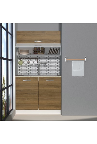 Decoraktiv Hazır Mutfak Dolabı Mini 100Y cm Pera -Tezgah Dahil