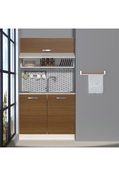Decoraktiv Hazır Mutfak Dolabı Mini 100Y cm Ceviz -Tezgah Dahil