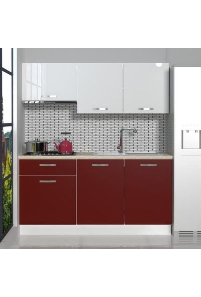 Decoraktiv Hazır Mutfak Dolabı Naturel 160 cm Bordo & Parlak Beyaz -Tezgah Dahil