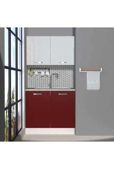 Decoraktiv Hazır Mutfak Dolabı Mini 90 cm Bordo & Parlak Beyaz -Tezgah Dahil