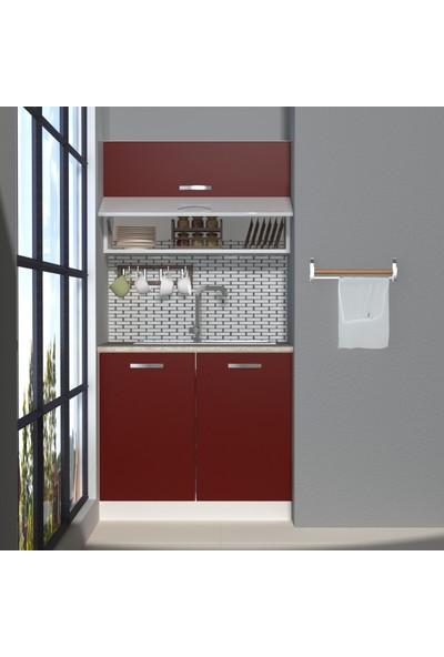 Decoraktiv Hazır Mutfak Dolabı Mini 90Y cm Bordo -Tezgah Dahil