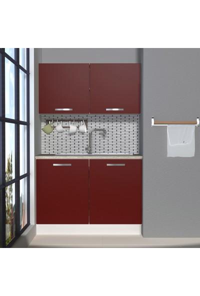 Decoraktiv Hazır Mutfak Dolabı Mini 120 cm Bordo -Tezgah Dahil
