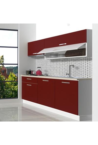 Decoraktiv Hazır Mutfak Dolabı Style 160 cm Bordo -Tezgah Dahil