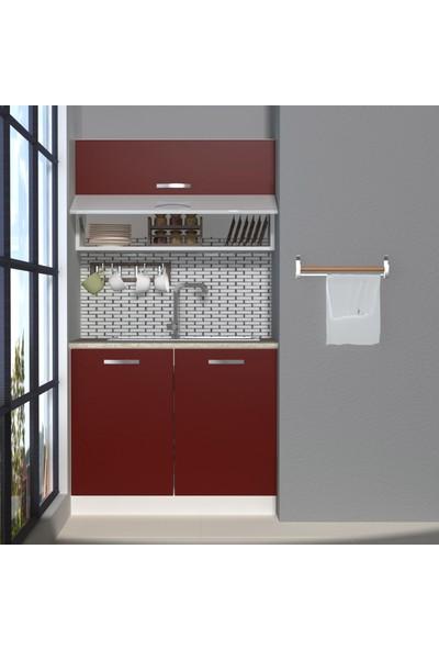 Decoraktiv Hazır Mutfak Dolabı Mini 100Y cm Bordo -Tezgah Dahil