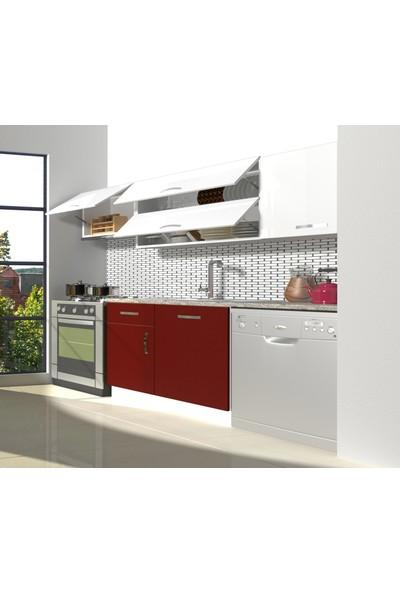 Decoraktiv Hazır Mutfak Dolabı Elite 220 cm Bordo & Parlak Beyaz -Tezgah Dahil